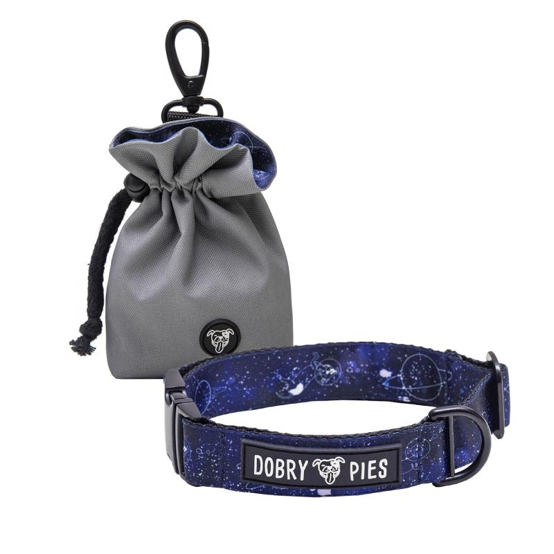 Woreczek na psie przysmaki z obroża w rozmiarze S i M z kolekcji SPACE DOG